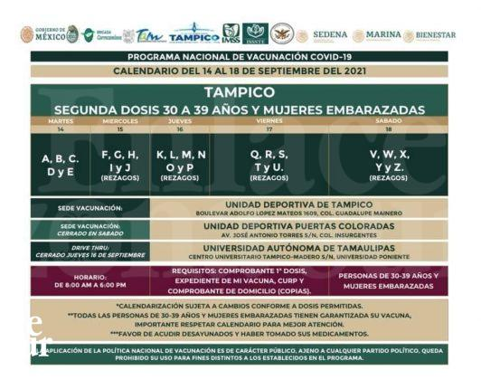SEGUNDA DOSIS DE VACUNACIÓN PARA JÓVENES DE 30 A 39 AÑOS Y MUJERES EMBARAZADAS EN TAMPICO